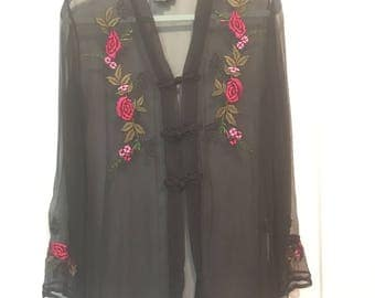 CAROLE LITTLE tunic top tunic silk sheer,roses,open jacket,frog close.NEW vintage