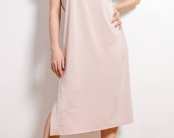 Casual light-pink dress Simple midi dress Belted dress
