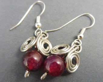 "Aries Earrings with Red Agate - ""Danglies"""
