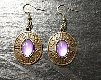 Purple violet earrings metallic-bronze/ethnic Bohemian boho/violet purple cabochon painted by hand / long pendant/gift women girl