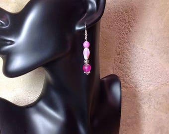 Bohemian earrings Fuchsia /perles glass Silver / gift for her/long pendant / gift/Christmas gift for women/long