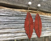 Fall Earrings. Orange Suede Earrings. Recycled leather handmade earrings. Upcycled leather. Leather Feathers. Gift-for-her. Trendy earrings.