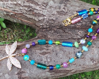 Dragonfly Necklace, Colorful Necklace, Bohemian Necklace, Boho Necklace, Gypsy Necklace,