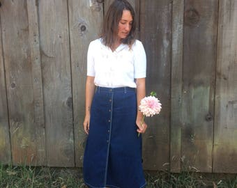 Vintage 1990s // Denim Skirt // Vintage Candies Skirt // Midi Skirt Midi Denim Skirt