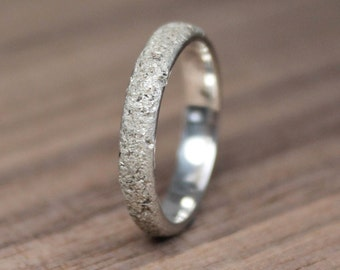 Silver Concrete Band, Thin Elegant 3.5mm Band, Textured Band, Rustic Ring, Wedding Ring.