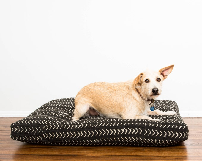 Made-To-Order: Black and White Mudcloth Dog Bed