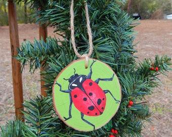 Lady bug Hand painted wood slice ornament