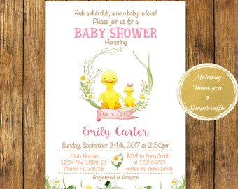 Digital file or Printed-Rubber Duck Baby Shower Girl Invitation-Baby Duck For Girl Invite-Duck Party-Baby Shower Duck-Birthday-Free Shipping