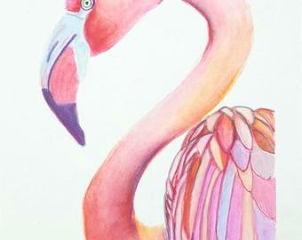 Print, pink flamingo, A5 giclée fine art of original artwork, watercolor on paper, gift idea for babies, home office nursery decoration.