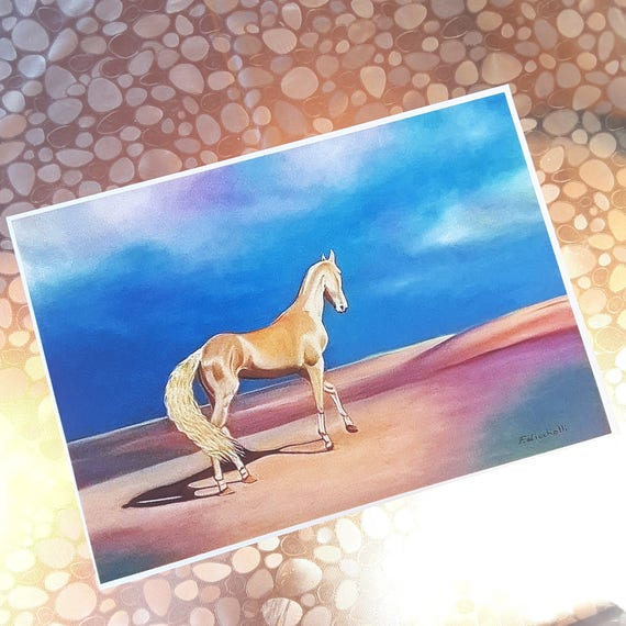Akhal-Teke horse, glicée fine art print of original oil on canvas, gift idea for him, home office traditional and modern decoration, wall.
