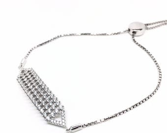 Women's jewellery 925 Sterling Silver, Cubic Zirconia Bracelet. Gift Box included - Italian jewellery. Birthday gifts and special occasions