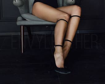 Leather garters, Leg harness, Stocking straps, Leather calf harness, Fetish garter, Leg garter, BDSM fashion, Leather Belts