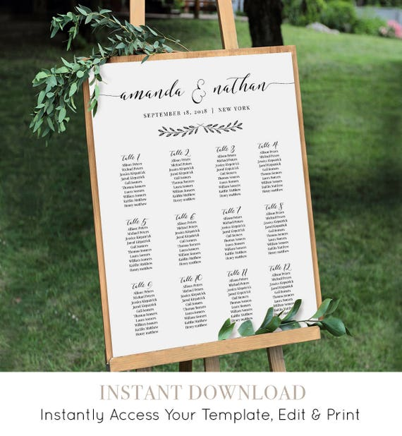 Seating Chart Template, Printable Wedding Seating Chart Sign / Poster, Seating Arrangement, Instant Download, Editable Template #024-210SC