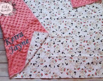 Cat Baby Blanket, Minky girl Blanket, Custom Baby Blanket, Coral Blanket, Baby Shower Gift, Personalized Girl, Kitten Baby Blanket, Pink