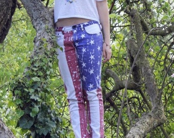 Womens USA American Flag, Stars and Stripes, Red, White and Blue, Low Rise, Skinny Jeans