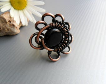 Copper, Wire wrap ring, Wire wrapped jewelry Statement, Unique ring for women, Black onix ring, Boho, Rustic copper ring, Antique, Wire ring