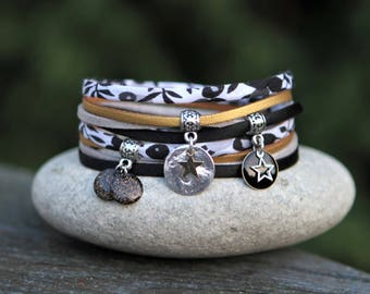 Liberty wiltshire, bracelet silk string bracelet, gold and silver bracelet, Star and glittery enamel bracelet, bracelet parties