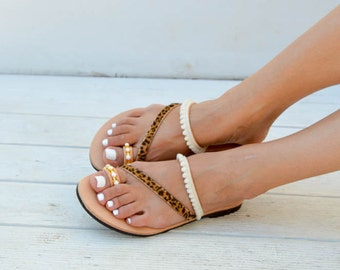 Leather Strappy Sandals, Pom Pom Sandals, Animal Print, Made in Athens, Greece.