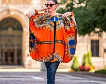 Orange Dashiki Kimono Oversized African Kimono Ankara Plus Size Kimono One Size Fits All Kimono Ethnic Dress Music Festival Clothing Women