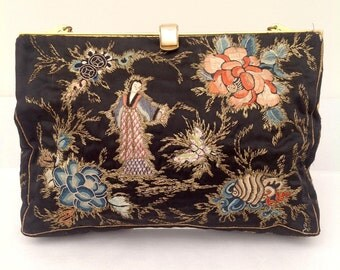 Beautiful Chinese embroidered purse bag 1930s vintage