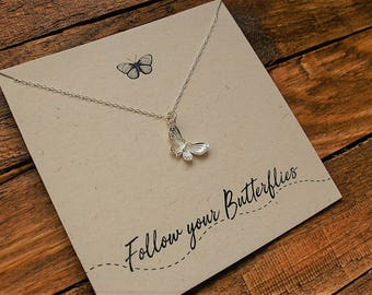 Sterling Silver Butterfly Necklace//Follow Your Butterflies//Silver Butterfly//Butterfly charm