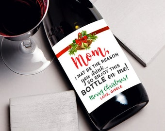 Funny Mom Christmas Gift, Gifts for mom, gift ideas, birthday mom gift, wine label, gift for mom, unique mother birthday, funny mother wine