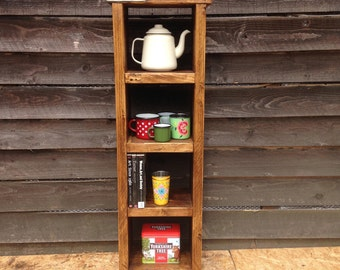 Reclaimed wood shelving unit - handmade from old scaffold boards. This unit is ready for immediate dispatch.