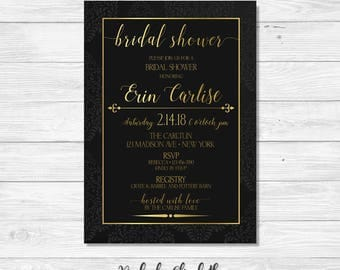 Black and Gold Bridal Shower Invitation, Elegant Bridal Shower Invite, Black and Gold Invitation, Bridal Shower Invitation, *DIGITAL FILE*