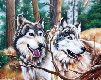 Wolves, Original Painting on Canvas, Art 20x16""