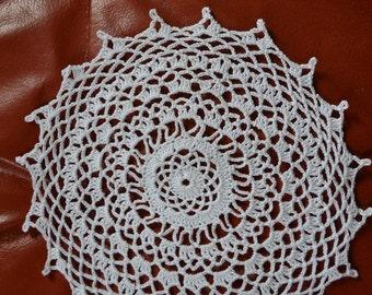 Handmade white doily, 20cm, round, crocheted with fine cotton