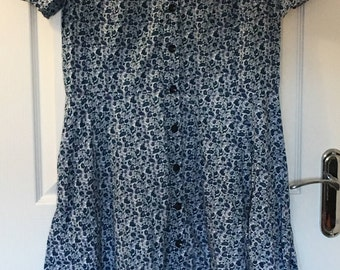 Mothers Day Gift 1980 Blue floral summer dress