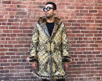 Golden Sultan Tales Faux Fur Festival Faux Fur Bohemian Tribal Clothing Playa Coat Jacket Men's Fur Hippie  Coat