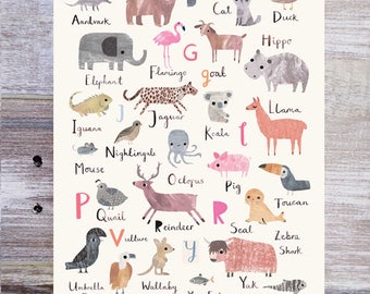 Animal Alphabet Print   Nursery Print   Nursery Wall Art   Childrenu0027s  Prints   Childrenu0027s Wall
