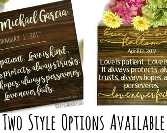 Love is Patient|Love is Kind|1 Corinthians 13:4|Two Styles|Personalized Wedding Plaque|Wedding Gift|Bridal|Anniversary Sign|Love Never Fails