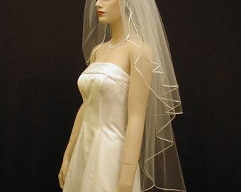 "30""/65"" Two Tiers wedding veil with 1/8"" satin ribbon edge"