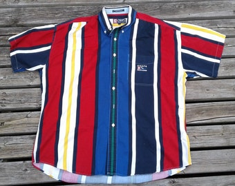 Vintage 90's Chaps by Ralph Lauren Striped Colour Block Polo Button Up Golf Shirt XL