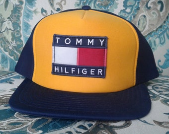 Custom Tommy Hilfiger Snapback Deadstock Hat Vintage Baseball Cap Yellow and Blue