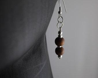 Brown wooden beads, no nickel findings drop and dangle earrings