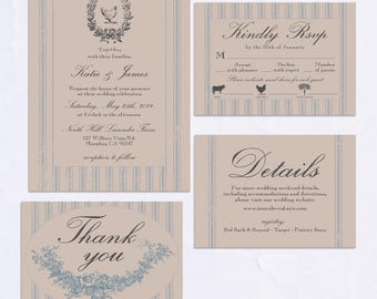 French Country Collection - Printable Wedding Invitation Suite
