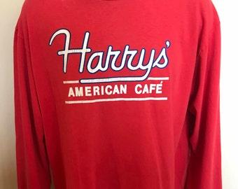80s Harry's American Cafe Shirt Vintage Tee Coffee Shop Cafe Bar Burger Breakfast Lunch Restaurant Espresso Classic Diner Retro Rare USA XL