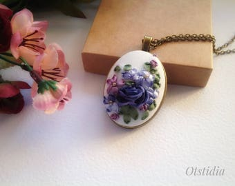 Blue Pink Embroidered pendant Silk ribbon embroidered bouquet Bronze color necklace Blue rose embroidery pendant Embroidered jewelry design