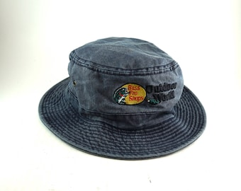Vintage Bass Pro Shops Bucket Hat // Outdoor World Cap // Roll Up Gilligan Hat // Fishing Boonie Cap