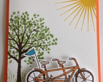 Bicycle Tree Sun Pedal Pusher Stampin Up Handmade Greeting Card No Greeting Blank Inside