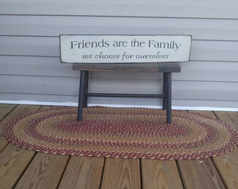 Friends sign, wood sign, country decor, friendship gift, guest room decor, friends are the family we choose for ourselves, wood, distressed