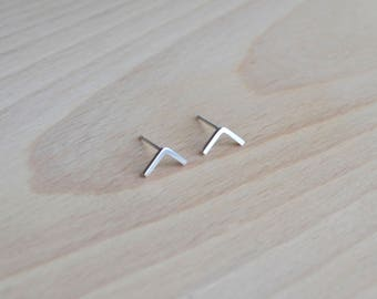 Sterling Silver Chevron Ear Studs | Silver Arrow Earrings | Thin Geometric Stud Earrings | Minimalist Silver Stud Earrings