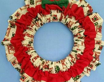 Poinsettia Christmas Fabric Wreath