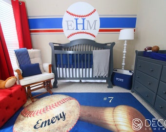 Baseball Nursery Rug Area Personalized Matt Personalize