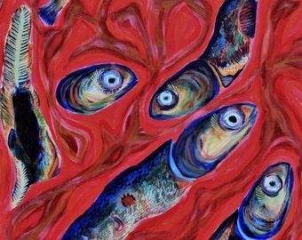 Funky Fish Art Print, fish painting, abstract fish painting, ocean art, ocean painting, abstract ocean art,