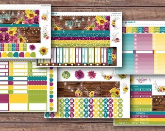 August Sunflowers | EC Life Planner | Happy Planner | Recollections Planner | Monthly Planner Stickers | August 2017