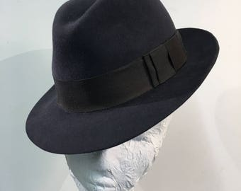Navy suede trilby hat